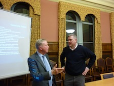 Jim Ainslie and Mark Greaves in discussion