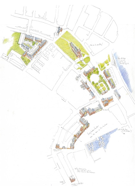 drawing in bird's-eye view of harbour site